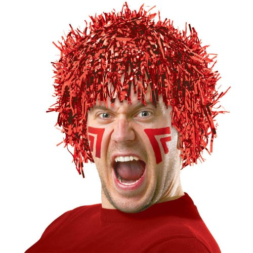 Amscan Fun Tinsel Wig Funny Costume Party Headwear, Red, 10 x 3.6