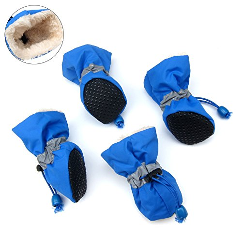 Alfie Pet by Petoga Couture - Hugo Winter Set of 4 Dog Boots - Color Blue, Size: XXS