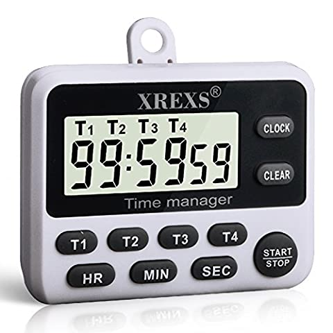 XREXS 4 Channels Digital Kitchen Timer Clock, Cooking Timer with Large LCD Display, 4 Groups Simultaneous Timing Countdown Up Pocket Timer, Magnetic Attachable (battery (Kitchen Digital Clock)