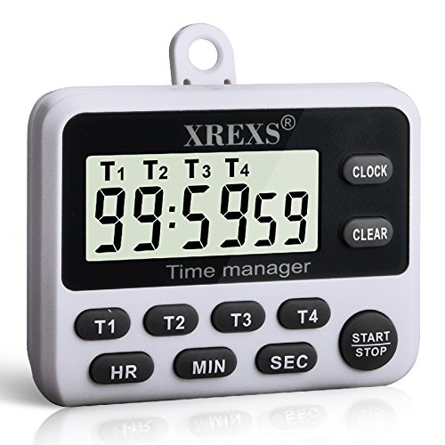 XREXS 4 Channels Digital Kitchen Timer Clock, Cooking Timer with Large LCD Display, 4 Groups Simultaneous Timing Countdown Up Pocket Timer, Magnetic Attachable (battery included)