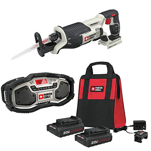 Porter-Cable PCC670B-888LB-771BBNDL 20V MAX Cordless Lithium-Ion Reciprocating Saw Kit with Radio