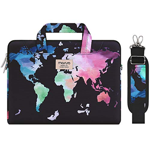 MOSISO Laptop Shoulder Bag Compatible with 13-13.3 inch MacBook Pro, MacBook Air, Notebook Computer, Pattern Briefcase Sleeve with Trolley Belt, Black World Map