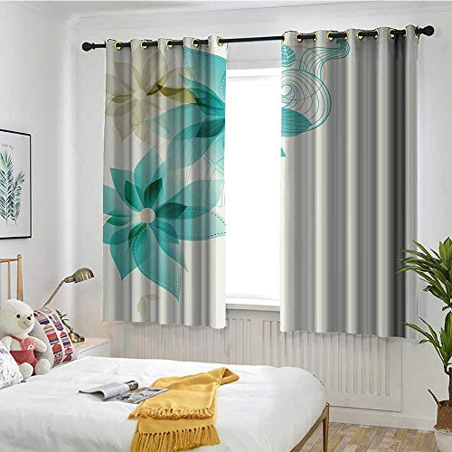 MaryMunger Teal Sliding Door Curtain Vintage Inspired Floral Elegance with Abstract Vibrant Colored Natural Elements Darkening Thermal Insulated Blackout W 63
