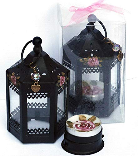 Roses Painted Hand Candle (Painted Rose Mini Black Metal Table Lantern Tea Light Candle Holder Boho Bohemian Decor Decorations Gift Set)