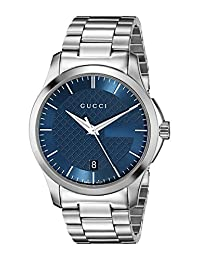 Gucci YA126440 Women's Timeless Wrist Watches, Blue Dial, Silver Band