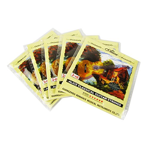 Musiclily Alice Clear Nylon Classical Guitar Single 3rd G String, Light(Pack of 5)