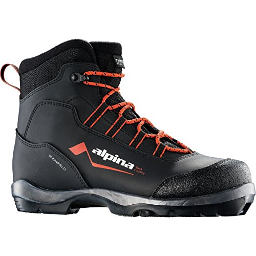 Alpina Sports Snowfield Backcountry Cross Country Nordic Touring Ski Boots, Black/Orange/White, Euro 40