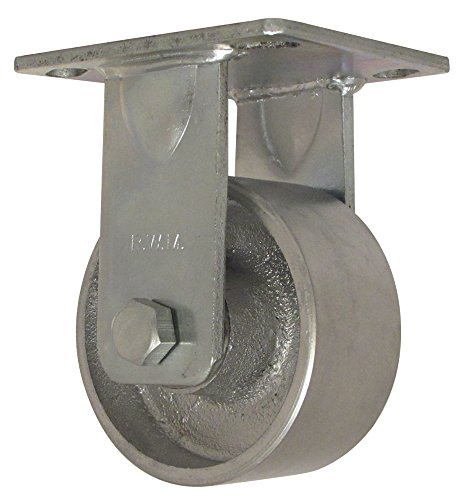 """RWM Casters 46 Series Plate Caster, Rigid, Cast Iron Wheel, Roller Bearing, 800 lbs Capacity, 4"""" Wheel Dia, 2"""" Wheel Width, 5-5/8"""" Mount Height, 4-1/2"""" Plate Length, 4"""" Plate Width from RWM Casters"""