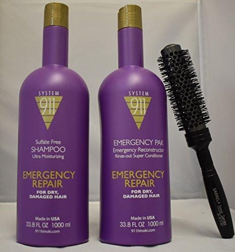 Hayashi 911 Emergency Pak - Hayashi 911 Shampoo and Hayashi 911 Emergency Pack DUO Set 33.8 fl oz with (SARRELA Ionic Hair Brush) Small (33.8 oz/1000 ml - Small Ionic Hair Brush DUO KIT)