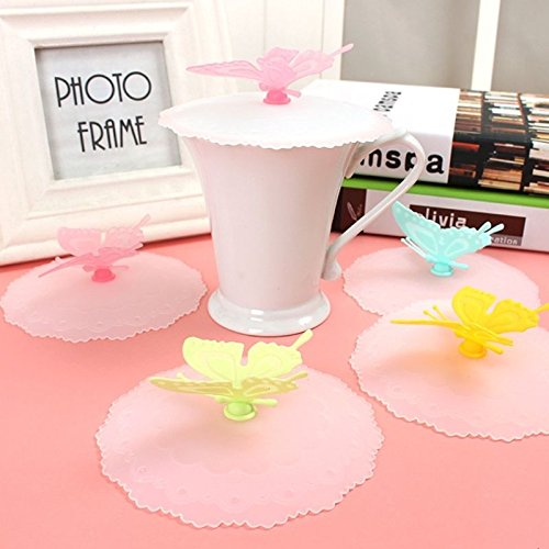LIAN--Silicone Butterfly Cute Anti-dust Cup Lid Airtight Coffee Mug Glass Seal - Glasses Chinese Online