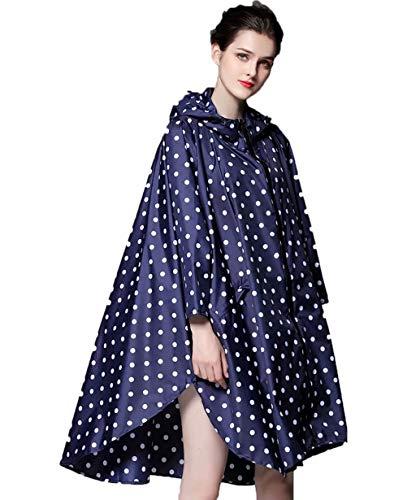 NUUR Women's Rain Poncho Jacket Waterproof Lightweight Reusable Hiking Rain Coat Jacket with Hood - Blue Polka Dot -
