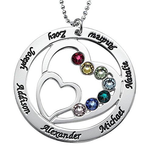 MyNameNecklace Sterling Silver Personalized Heart Pendant w/Swarovski Birthstones-Gift for Mom Custom Engraved ()