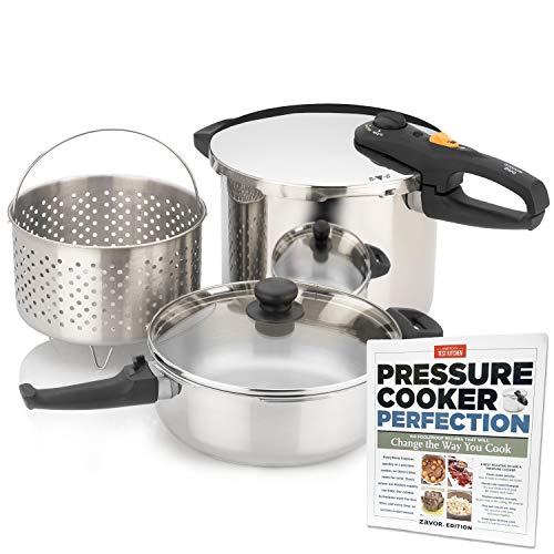 Zavor DUO Combi Pressure Cooker Set (4.2 & 8.4 Quart) with America's Test Kitchen Pressure Cooker Perfection Cookbook