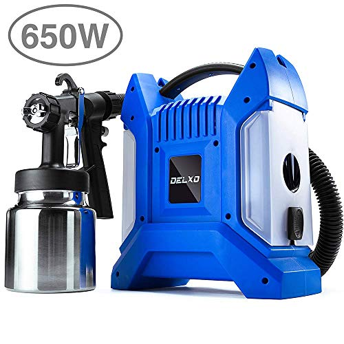 Delxo 1000ml Paint Sprayer 650W High Power HVLP Paint Sprayer,Even Spray,No Leaking,Good Cooling Portable Design Perfect for Beginner DIY Painting Fences,Walls,Floor and Furnitures 3 Copper Nozzle