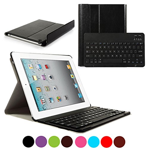 CoastaCloud iPad 2/3/4 Really Thin Smart Stand Cover with Magnetically Detachable Wireless Bluetooth Keyboard Case for Apple iPad 2 3 4 (Black)