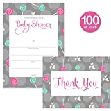 Baby Shower Invitations ( 100 ) & Matched Thank You Cards ( 100 ) Set with Envelopes Large Celebration Pack Mommy & Daddy to Be Gender Neutral Fill-in Invites & Folded Thank You Notes Best Value Pair