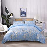Heaven home textile 100% Cotton 3pcs Duvet Cover Set(1×Duvet Cover+2×Pillow Shams)-Natural Fresh Jasmine Design-Comfortable, Soft, Breathable and Extremely Durable.(Full/Queen)
