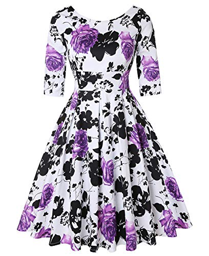 ROOSEY Women's 50s Style Swing Dress Vintage Retro Cocktail Evening Formal Dress by ROOSEY