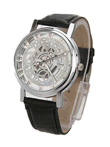 DioKlen - Reloj de pulsera para hombre, diseño de esqueleto con grabado hueco, reloj casero, cuarzo, correa de cuero, Relojes Mujer [plata negra]: ...