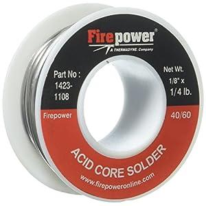 Firepower 1423-1108 Acid Flux Core 40/60 Solder, 1/8-Inch x 1/4-Pound