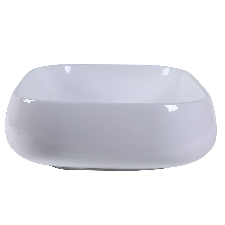 kleankin Lavabo Lavandino dAppoggio Senza Troppopieno Rettangolare da Bagno Ceramica 56 x 42 x 14.5cm Bianco