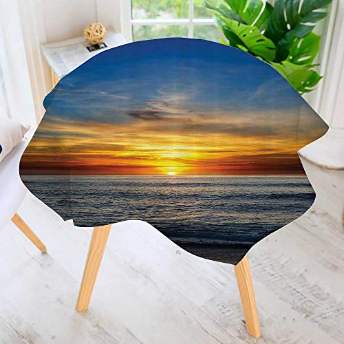 (Philiphome Round Tables in Washable Polyester-SunOver The Pacific Ocean from La Jolla California Sunlight Colored Sky Tablecloth –Ideal for Home, Restaurants, Cafés 47.5