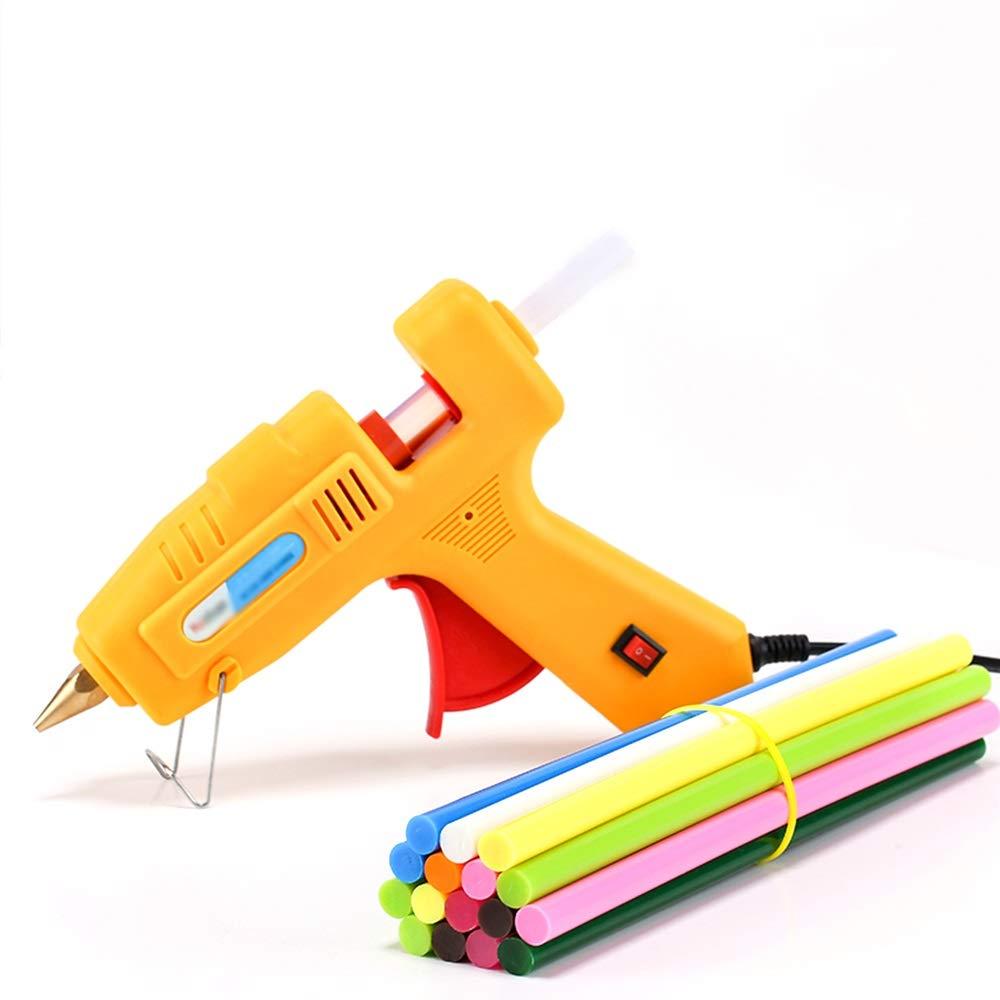 NingNing Adhesive Hot melt Glue Gun with 33 Glue Sticks 120W Glue Gun Rapid Heating Technology, Color Glue Sticks - Used in Art Crafts School Home Repair DIY (Yellow) Handicraft