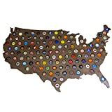 Giant USA Beer Cap Map - 3ft Wide - Craft Beer Cap Holder (Natural Wood) (Dark Stain)