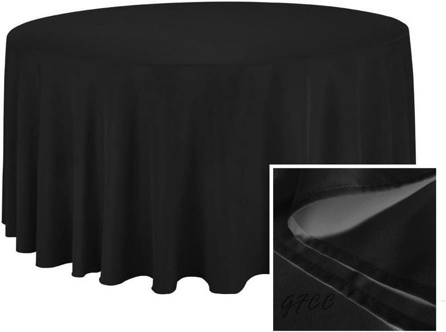 TRLYC Diameter Tablecloth 50- Inches Round Polyester Tablecloth Black