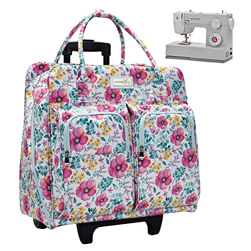 Everything Mary Deluxe Light Blue Floral Rolling Sewing Machine Case - Sewing Case Fits Most Brother & Singer Sewing Machines - Premium Teacher Rolling Travel Case for Teachers, Students, School