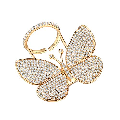 (Butterfly Engagement Rings for Women - Cubic Zirconia Rings Can Adjustable Finger Size and Moving Wings 18K Gold Plated AAA Zirconia, Perfect for Party and Gift for Women)