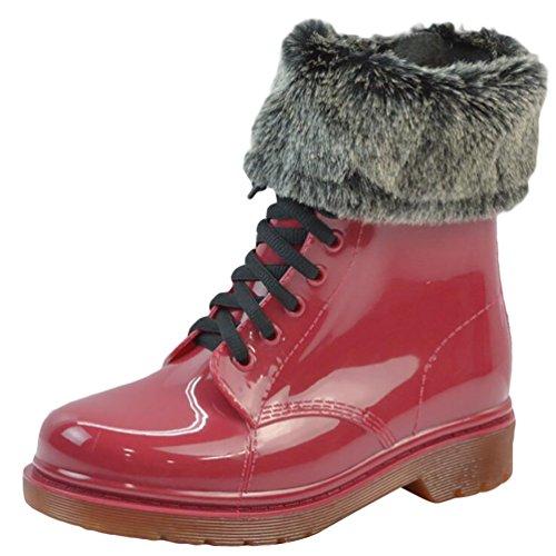 LvRao Mujeres Boots Impermeable de Lluvia Nieve Botas de Jardín Botines Corto con Cordones de Zapatos Rojo con Pelaje