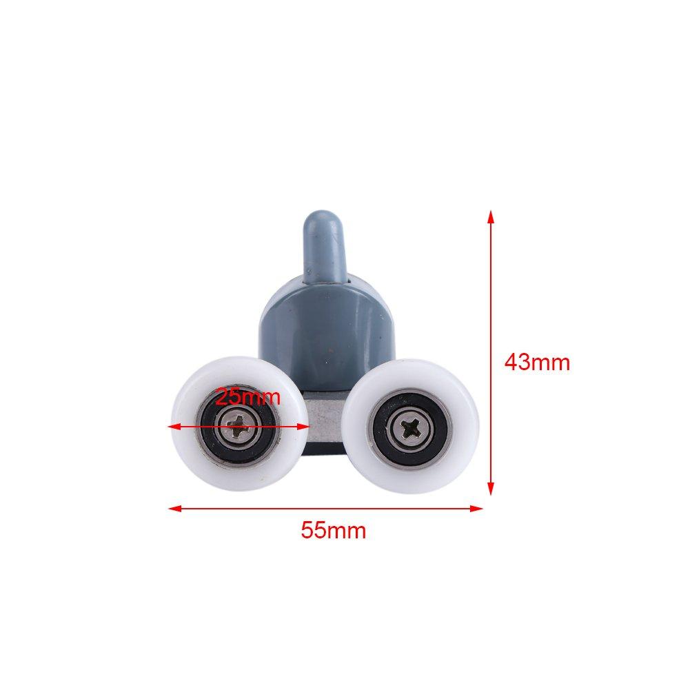 Rodillos para Puerta de Ducha con Doble Parte Inferior y Ruedas de Repuesto 8 Unidades TOPINCN Double Wheel