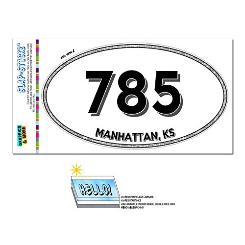 Manhattan Graphics - Graphics and More Area Code Euro Oval Window Laminated Sticker 785 Kansas KS Jennings - Ogden - Manhattan