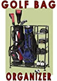 Deluxe Golf BAG Organizer- Golf Bag and Equipment Organizer- Rack/shelves- Keep Your Golf Gear in One Place. Three Basket Shelves for Accessories and Bottom Shelf for Shoes- Chrome Finish