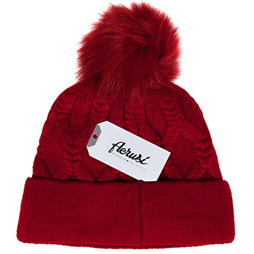 Aerusi Thick Knit Scarlet Red Unisex Crocheted Beanie with Pom-Pom ()