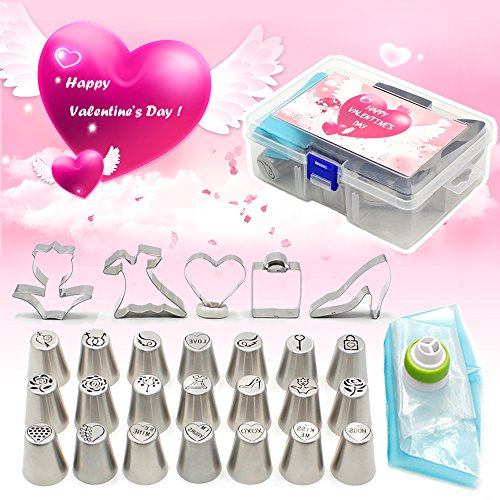 Piping Nozzles Valentine's Cake Decorating Tools Set 30Pcs-21Pcs Icing Tips 5Pcs Cookie Cutter 3Pcs Pastry Bags 1Pc Tricolor Coupler,Exclusive Valentine Edition (Valentines Cookie Cakes)