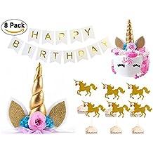 Bestus Unicorn Birthday Party Set/ Handmade Gold Unicorn Horn Cake Topper with unicorn cupcake toppers and happy birthday banner/ Unicorn Party Decoration for baby shower,wedding and birthday party
