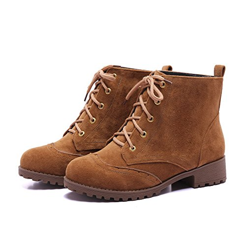 AllhqFashion Womens Lace-up Round Closed Toe Low-Heels Imitated Suede Low-top Boots Brown Fxp0CEcHdi