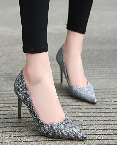 39 Match MDRW Dress Heeled Shoes All Work Lady Point Nightclub Leisure 9Cm Party Shoes A With High Sexy Sequins Spring Elegant Fine Silver PPAqBw