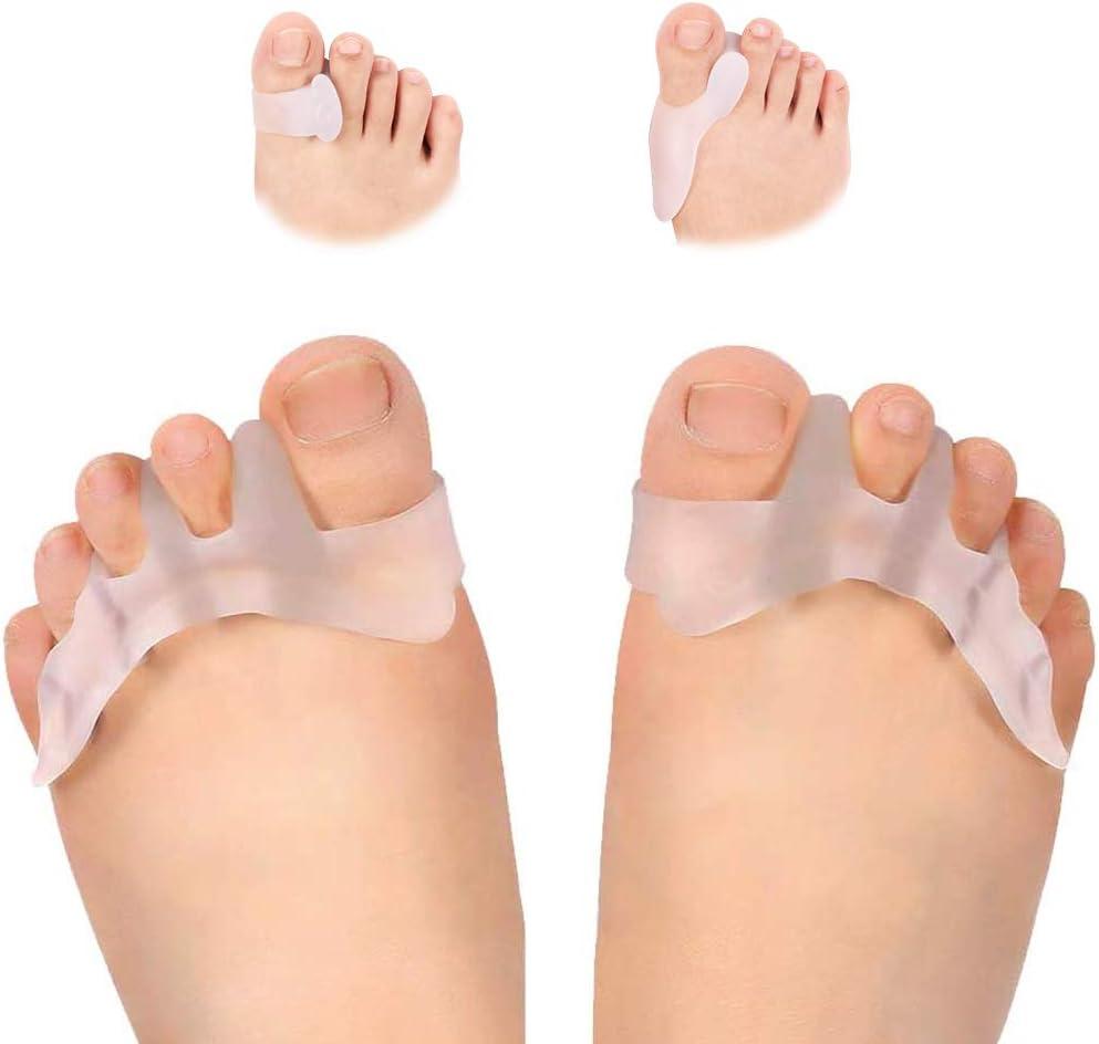 3 pares de separadores de dedos para hombre y mujer, separador de dedos de gel para Hallux Valgus, alivio del dolor en los dedos de los pies, uso en zapatos para correr.