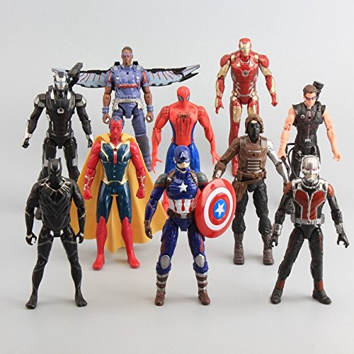 10Pcs/Set Captain America Civil War PVC Action Figures Avengers Iron Man Ant-Man Falcon Spiderman Bucky Vision Model Doll Original