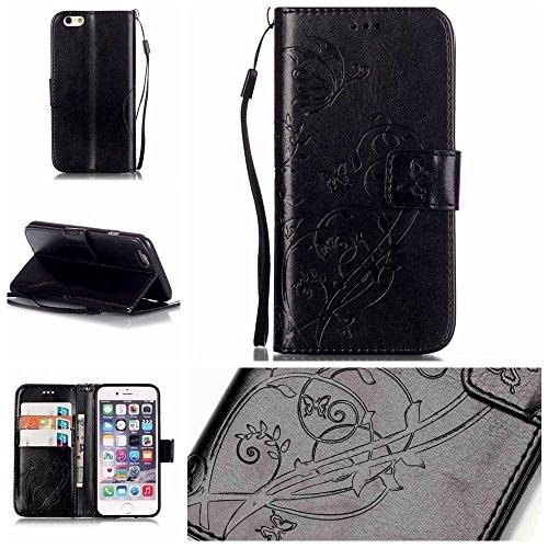SRY-Bolsa para teléfono móvil Con ranura para tarjetas, cordón, presión Hermoso patrón de moda abrir el teléfono celular Shell para Apple IPhone 7 ( Color : Rose , Size : IPhone 7 ) Black