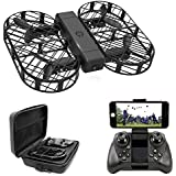 DWI Dowellin FPV Drone 720P HD Camera Live Video Foldable Mini RC Drones Crash Proof One Key Take Off Landing Flips Rolls Micro Quadcopter Case Kids Beginners Adults