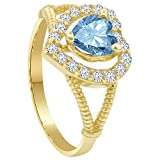 Gem Avenue 14k Gold 6mm Heart Blue Topaz Cubic Zirconia Solitaire with Accents Ring