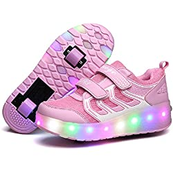 Nsasy YCOMI Girl's Boy's LED Light up Single Wheel Skate Shoes Fashion Roller Skate (32 M EU/1 M US Little Kid, Pink (Double Wheel))