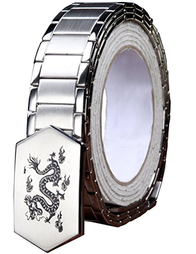 Menschwear Men's Stainless Steel Belt Slide Buckle Adjustable 32mm 145 Silver 130cm by Menschwear