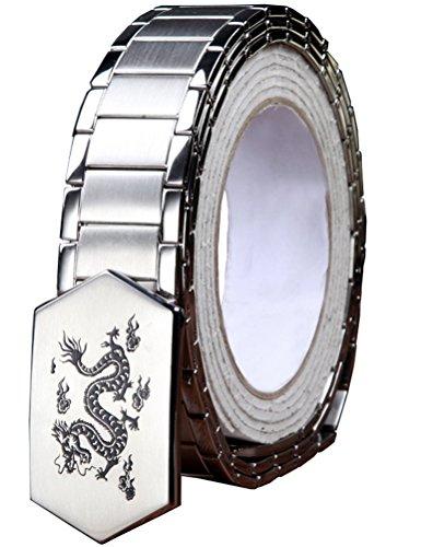 Menschwear Men's Stainless Steel Belt Slide Buckle Adjustable 32mm 145 Silver 110cm by Menschwear