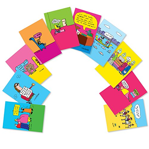 He Wont Get Far on Foot - 10 Pack of Mixed All Occasion Greeting Cards with Envelopes (4.63 x 6.75 Inch) - Funny Cartoons, All-Occasion Blank Note Cards - Boxed Notecard Set AC6222OCB-B1x10