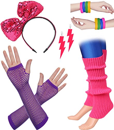 BABEYOND 80s Outfit Costume Accessories Neon Earrings Fishnet Gloves Leg Warmers Headband Bracelets (Set 5)